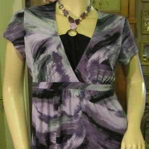 Apt 9 Purple & Black Top with Beaded Detail M
